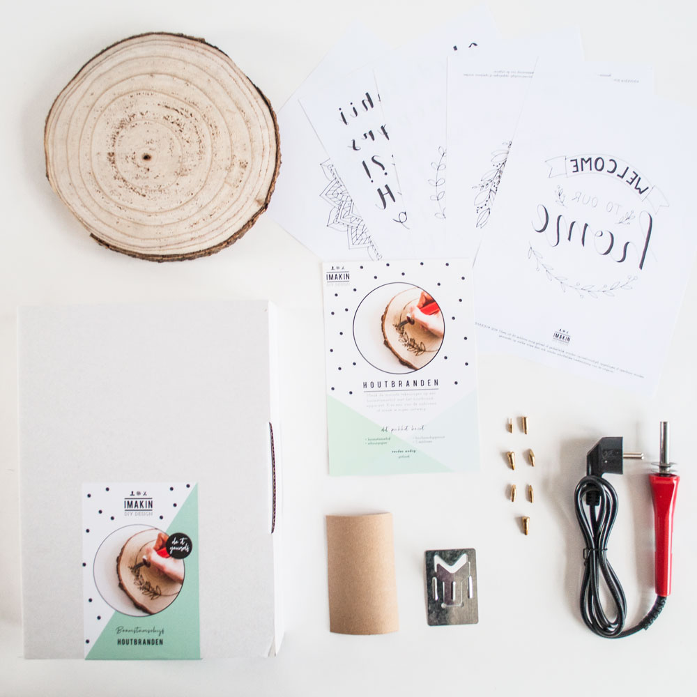 DIY pakket boomstamschijf houtbranden inhoud IMAKIN