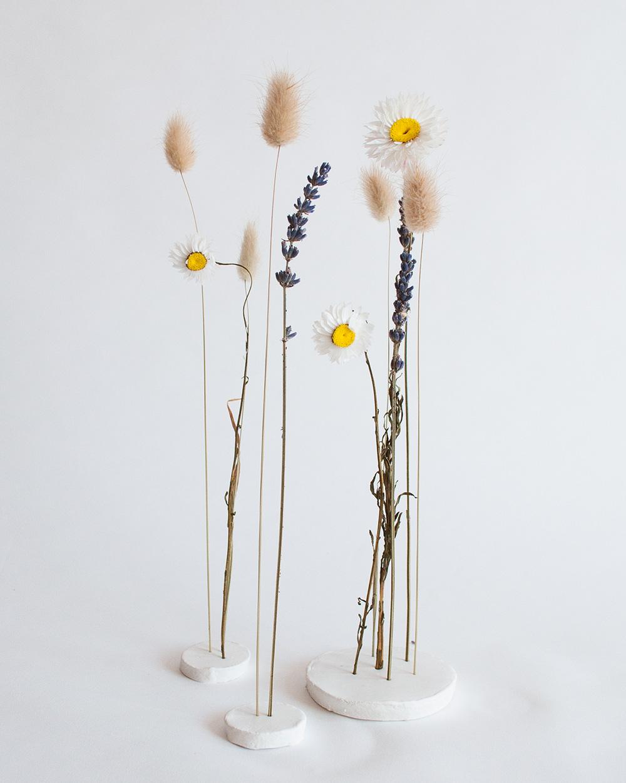 diy kleistandaard droogbloemen plat