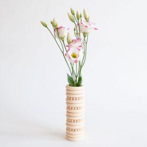 gordijnringvaasje resultaat verse bloemen