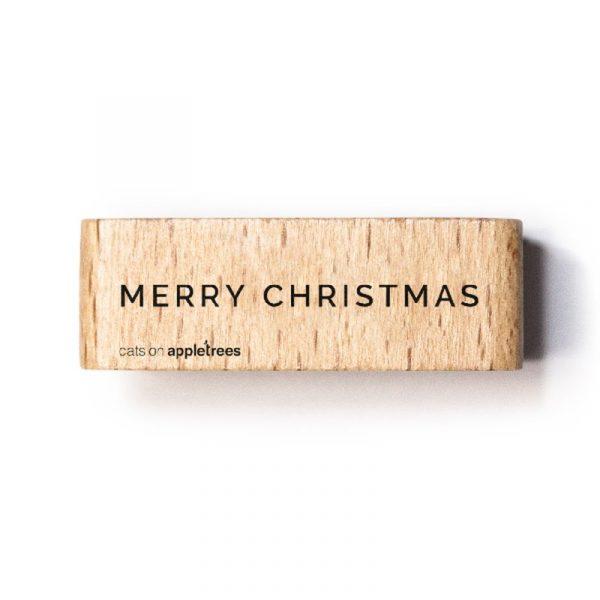 houten stempel merry christmas2
